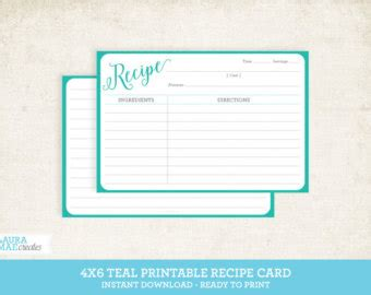 4x6 recipe card template editable printable recipe cards 4 x 6 editable pdf