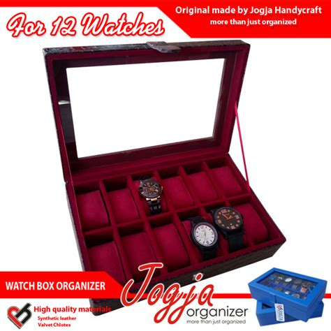 Isi 100 Pcs Kotak Box Jam Tangan Dus Packing Bantal 1 maroon croco box organizer for 12 watches kotak