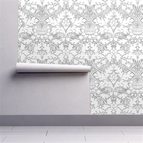 color your own wallpaper william morris growing damask black and white color