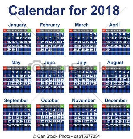 Calend Do Ano De 2018 Clip Arte Vetor De Calend 225 Ano 2018 Calend 225