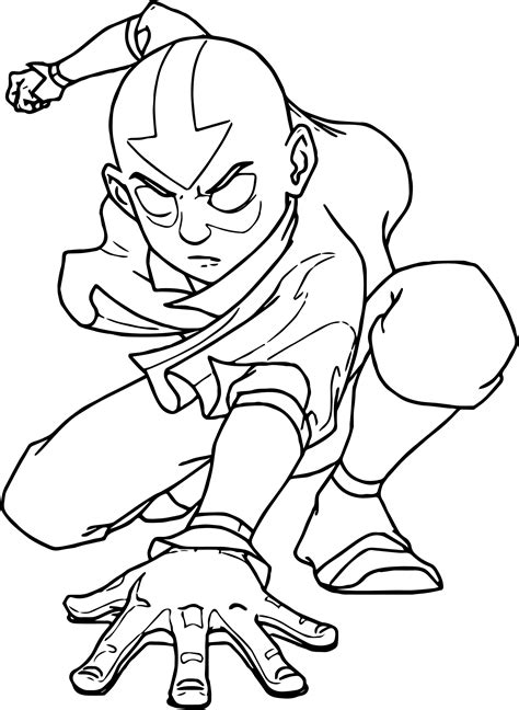 coloring pages about aang avatar powered coloring page wecoloringpage