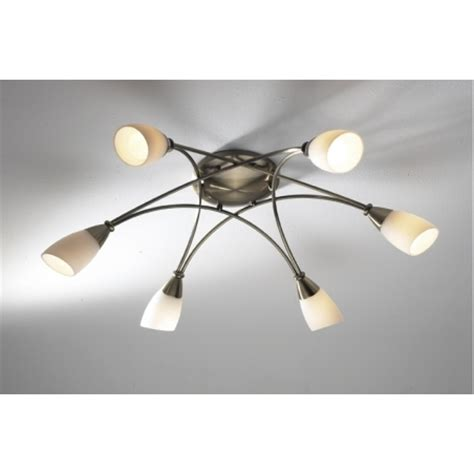 Brass Ceiling Lights Modern Dar Dar Bur0675 Bureau 6 Light Modern Ceiling Light Flush Fitting Antique Brass Finish With Opal