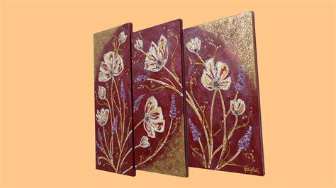 quadri con fiori in rilievo trittico fiori in rilievo vendita quadri quadri
