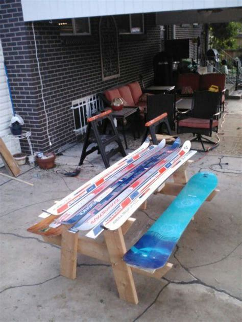 bench made of skis picnic tables picnics and ski on pinterest