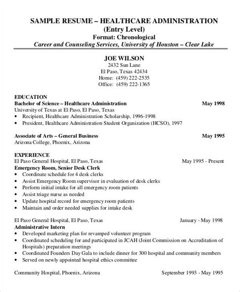 hospital resume exles 29 administration resume sles pdf doc free