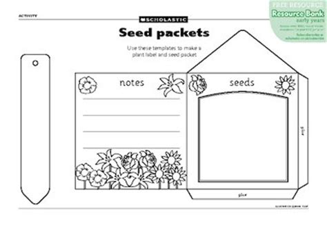plant tag template seed packets free early years teaching resource scholastic