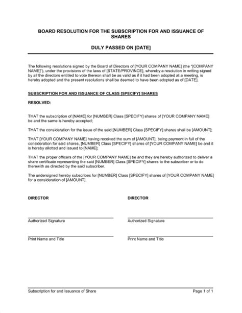 magazine subscription form template resolution for the subscription for and issuance of shares