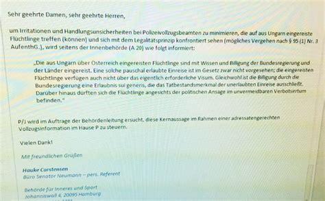 einladung visum hamburg hamburger polizei wird schriftlich zur strafvereitelung angewiesen steinh 246 fel