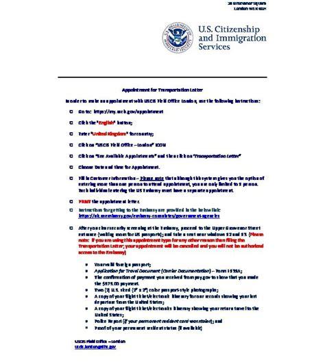 uscis transportation letter u s embassy