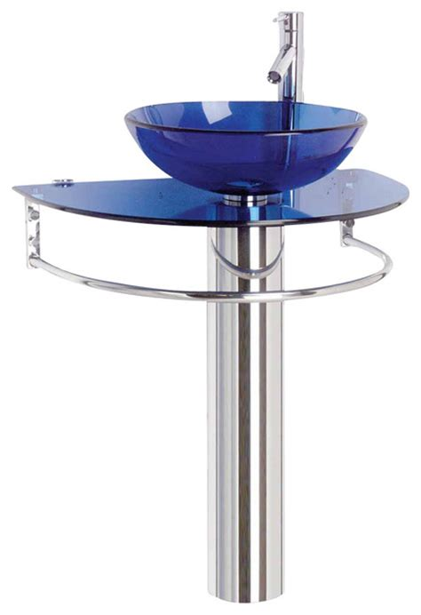 Blue Pedestal Sink moon pedestal sinks glass stainless blue contemporary bathroom sinks by the renovator s