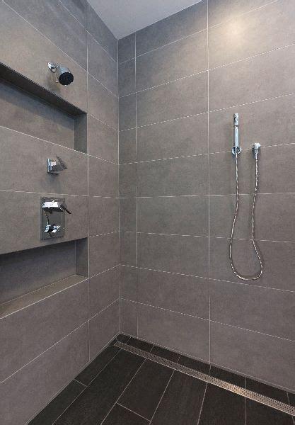 large format tile shower  linear shower drainphoto