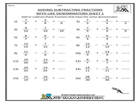 like unlike fractions worksheets adding and subtracting
