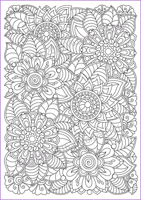 flowers zentangle coloring page  adults doodle  etsy