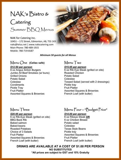 barbecue rehearsal dinner summer bbq catering menu great