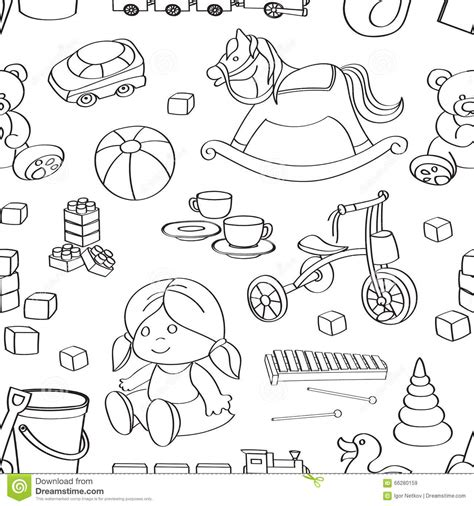 pattern drawing toy doodle pattern toys stock vector image 66280159