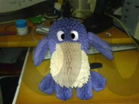 3d origami eeyore tutorial origami 3d eeyore pooh bear cartoon youtube