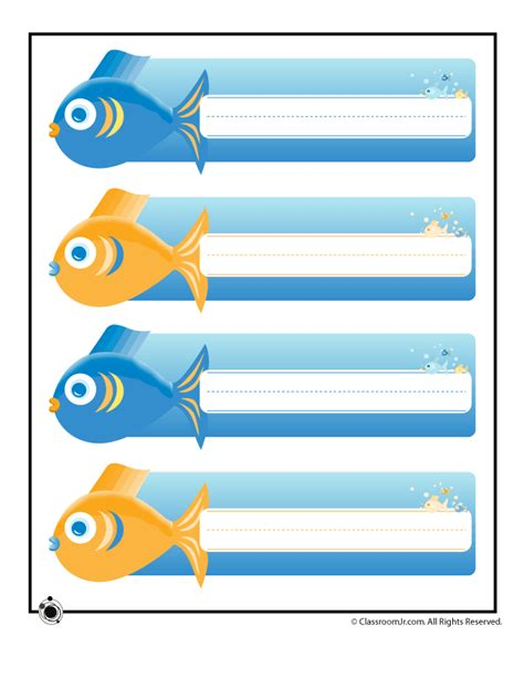ocean themed desk name tags set of cubbies and work printable name plates ocean fish woo jr kids activities