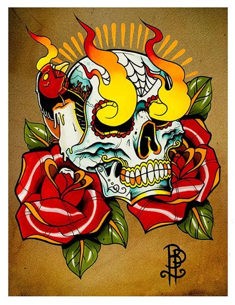 flaming rose tattoo flaming skull and roses flash print by