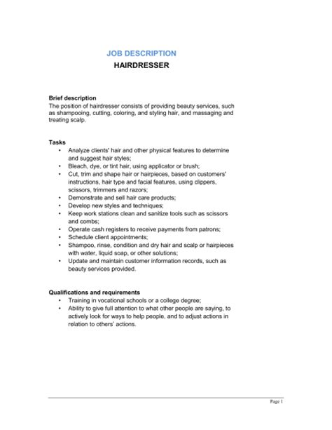Beautician Description by Hairdresser Description Enchanting Salon Receptionist Resume Duties With
