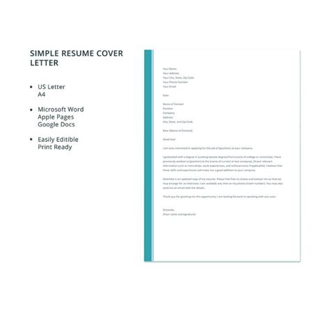 simple resume cover letter doc 51 simple cover letter templates pdf doc free premium templates