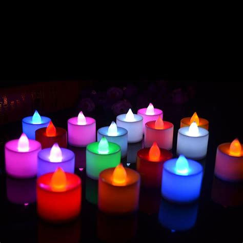 Colour Candle 10pcs 10 pcs led candle 6 colors flameless flickering led tea light battery candles wedding