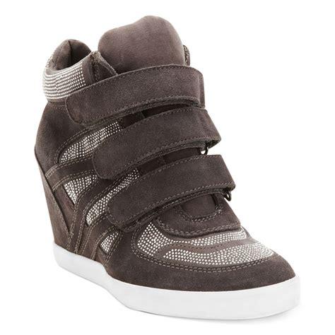 grey wedge sneakers nine west rocksie wedge sneakers in gray grey lyst