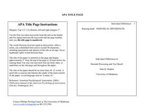 Sle Research Paper Title Page Apa by Apa Research Paper Section Headings The American Psychological Association Apa Is A