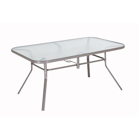 Patio Dining Tables Only Shop Garden Treasures Driscol 38 In W X 60 In L 6 Seat Taupe Steel Patio Dining Table With Glass