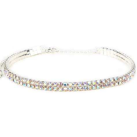 Rhinestoned Choker Silver 2 row stretch rhinestone choker necklace ab