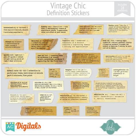 The Meaning Of Chic by Vintage Chic Definition Stickers Ac Digitals