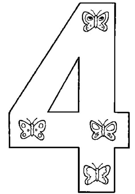 Number 4 Coloring Page Printable by Number 4 Coloring Page 4 Coloring Pages Butterfly Number 4