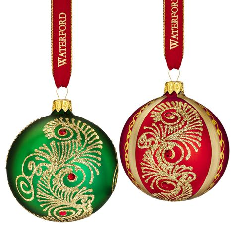 waterford jasperware christmas ornaments waterford peacock nouveau set of 2 ornaments silver superstore