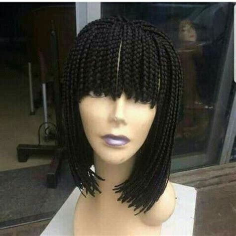 trending hairstyle alert box braids with fringe humour