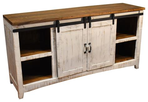 white barn door entertainment center crafters and weavers rustic 68 quot white barn door media