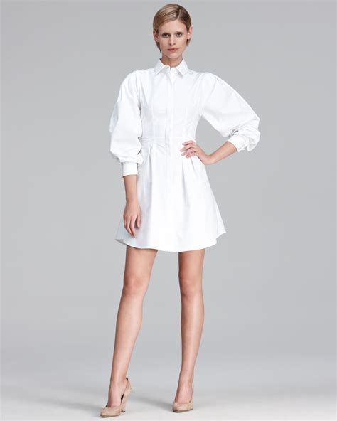 Puff Sleeve Fashion Dress M 17520 thakoon puff sleeve poplin shirt dress in white lyst