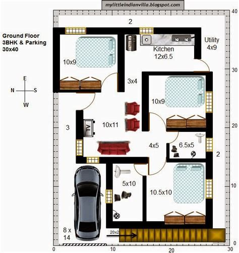 My Little Indian Villa 36 R29 3bhk In 30x40 West Facing 30x40 House Plan Ground Floor