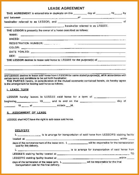 printable rental agreement template rental agreement forms generic resume