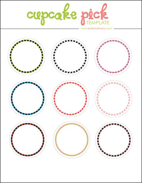cupcake topper template kate macy free digital cupcake topper template