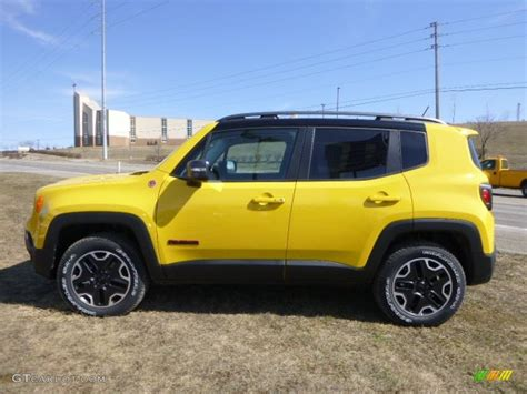yellow jeep solar yellow 2015 jeep renegade trailhawk 4x4 exterior