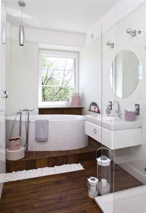 bad bathrooms little bad set ideas white pink accents wood floor glass