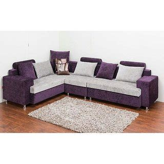 sofa set in l shape l shaped sofa set in purple and white colour buy l shaped