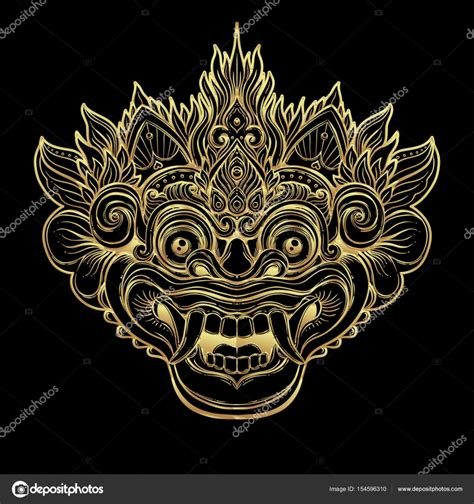 tarif tattoo di bali barong rituel traditionnel masque balinais vector orna