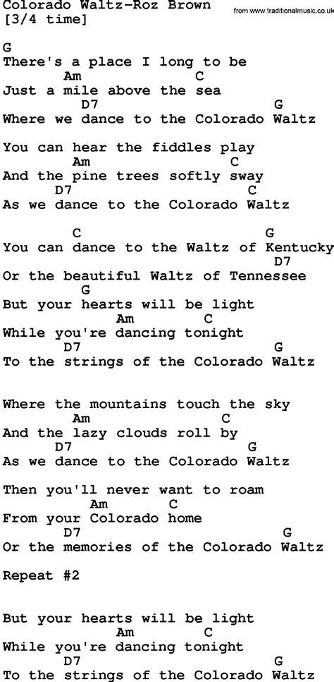 waltz lyrics country colorado waltz roz brown lyrics and chords