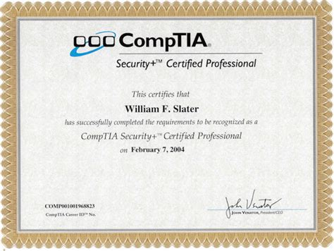 Or Certification William F Slater Iii Professional Certifications