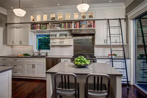library ladder in kitchen once upon a time inspired spaces hgtv s decorating