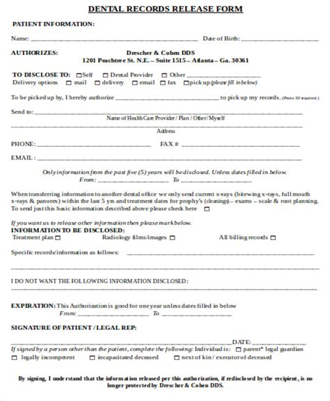 8 Sle Dental Records Release Forms Sle Templates Dental Office Forms Templates