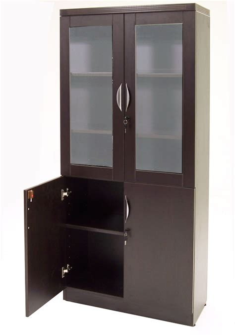 Wall Units With Glass Doors Adjustable Height U Shaped Executive Office Desk In Mocha