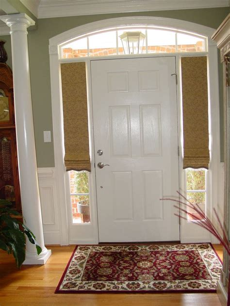 curtains for sidelights on front doors custom roman shades for sidelight windows at front door