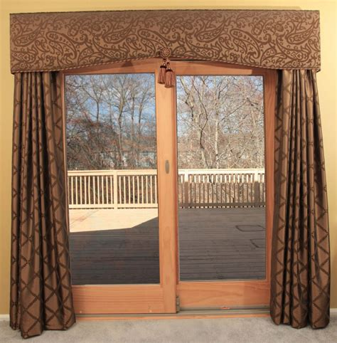 Brown Valance For Windows Ideas Furniture Sliding Glass Patio Door With Brown Patterned Curtains And Valance With Plantation