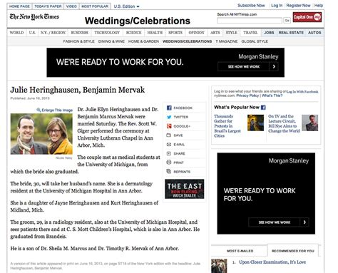 Wedding Announcement In The New York Times by New York Times